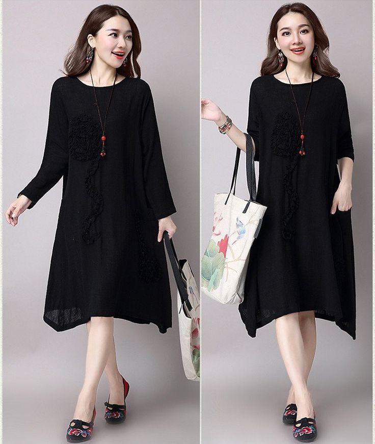 Black National Wind Long Sleeve Dress