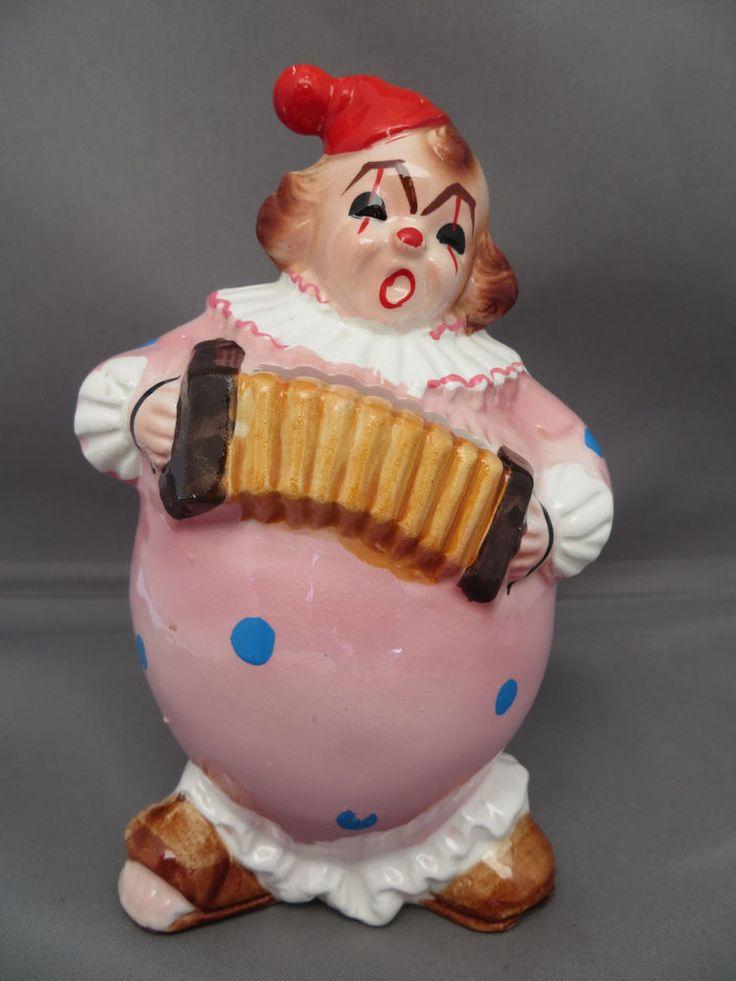 MCM Circus Clown Musician Coin Piggy Savings Bank Playing Concertina Marked 6129