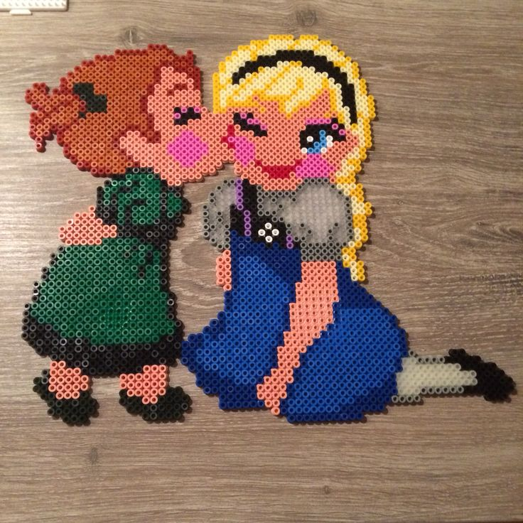 Anna and Elsa - Frozen hama beads by Shirley Boon