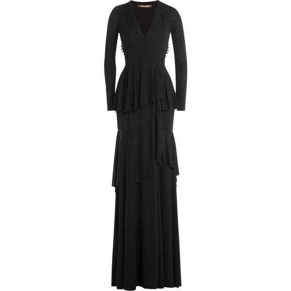 Roberto Cavalli Tiered Evening Gown (4700 QAR) ❤ liked on Polyvore featuring dresses, gowns, black, front slit dress, long sleeve ball gowns, roberto cavalli evening dresses, roberto cavalli evening gowns and roberto cavalli dresses