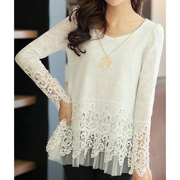 Stylish Round Neck Long Sleeve Spliced Solid Color Women's Blouse, WHITE, 2XL in Blouses   DressLily.com