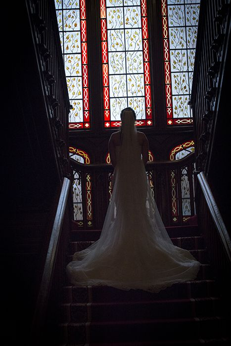 Bride on Stairwell in Dromland Castle, Co. Clare
