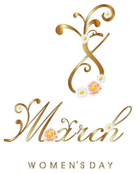 Gold March 8 with Flowers PNG Clipart Image