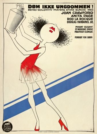 Silent Movie poster from 1930 'Døm ikke Ungdommen' (Our Modern Maidens) - Danish artist Sven Brasch (1886-1970)