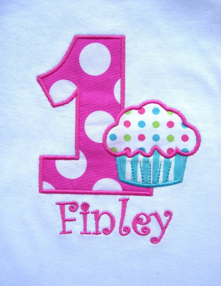 I think we'll be sticking with something like this and a pretty skirt! First Birthday Personalized Cupcake Short Sleeve  Onesie. $16.99, via Etsy.