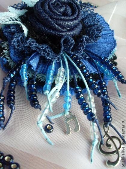Песни горбатых китов. Брошь в стиле бохо из ткани - брошь бохо,брошь цветок из ткани