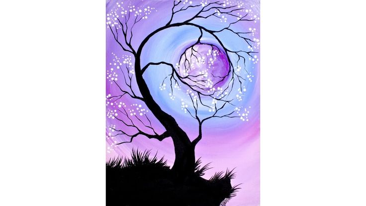 Lullaby Moon Beginners learn to paint full acrylic art ...