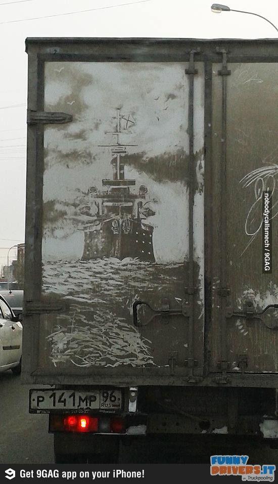 Opere d'arte sul fango e sulla polvere - http://www.funnydrivers.it/arte-di-strada/opere-darte-sul-fango-e-sulla-polvere-2/