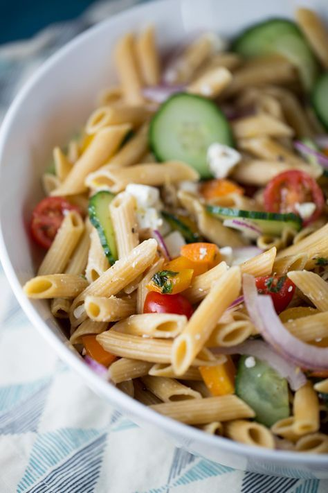 15 Minute Easy Greek Pasta Salad Recipe - Fresh vegetables, feta cheese, and lemon herb dressing are a healthy combo | jessicagavin.com