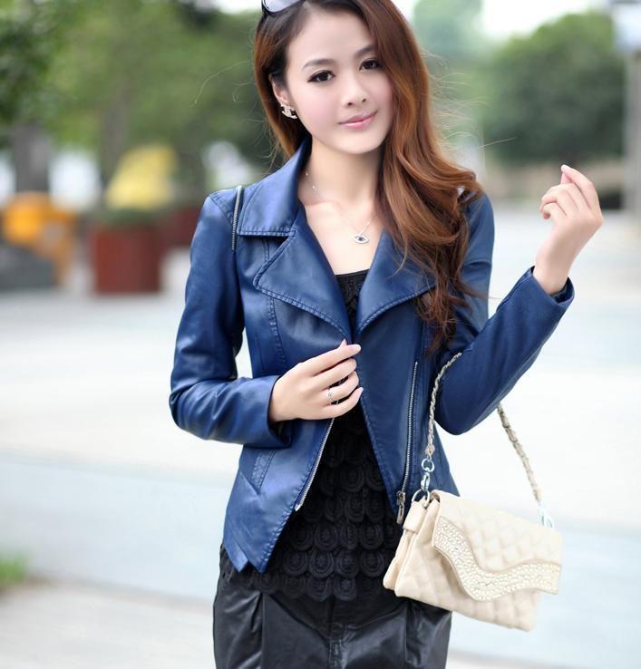 Dark Blue Leather Jacket Womens - Coat Nj