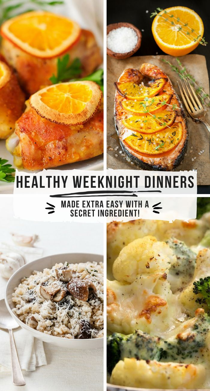 Healthy Weeknight Dinners made extra EASY with a secret ingredient! Recipes for Orange-Ginger Salmon, Wild Mushroom Risotto, Garlic and Herb Cauliflower Bake, and more! #ad #WeeknightDinners #easydinners