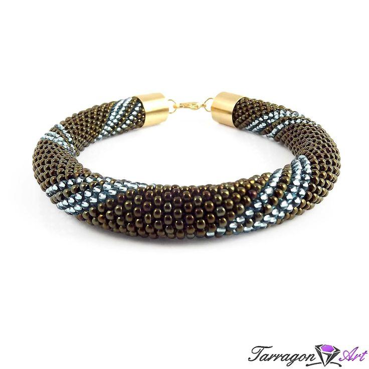Naszyjnik/Bransoletka Seed Beads - Iris Brown & Aquamarine - Naszyjniki i wisiory - Tarragon Art - stylowa biżuteria artystyczna