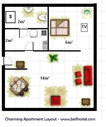 Charming Apartment Layout - www.bellhostel.com