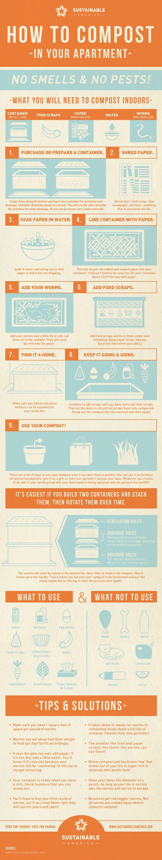 """How to Compost in Your Apartment by thejoyfulorganizer #Composting #Apartment #Green"" this is intriguing, but I'm not sure i trust the claim that it won't attract pests. I've lived through two mouse infestations and have no desire to do so again."