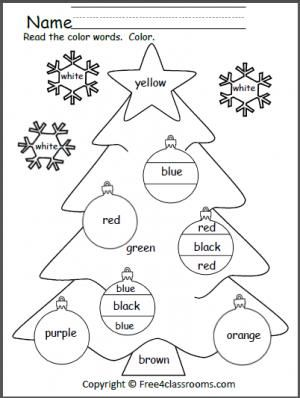 free color words christmas worksheet students practice reading 9 color words as they color this. Black Bedroom Furniture Sets. Home Design Ideas