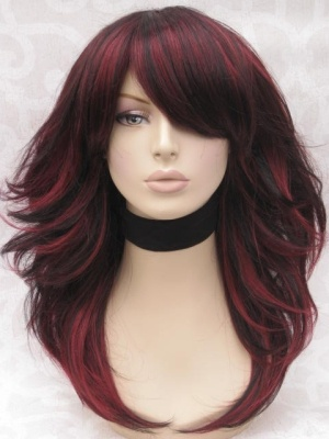 red highlights in black hair by amber