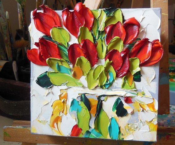 Oil Painting  Red Tulips Impasto Painting by Ironside Impastos   (I just bought this!!)