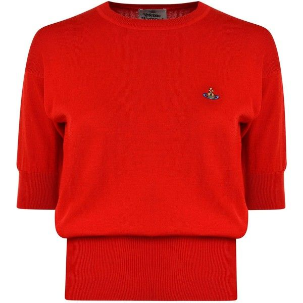 VIVIENNE WESTWOOD Classic Knitted T Shirt ($305) ❤ liked on Polyvore featuring tops, t-shirts, embroidery t shirts, round neck t shirts, embroidered t shirts, vivienne westwood t shirt and red embroidered top