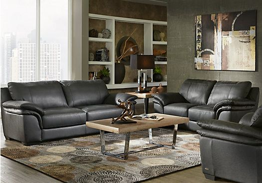 Shop For A Cindy Crawford Home Perugia Black Leather 3 Pc Living Room At Rooms To