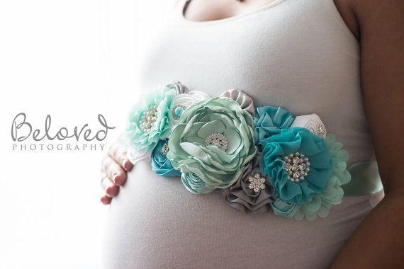 Aqua Mint Dream Maternity Sash Aqua Teal by LaBandeauxBowtique