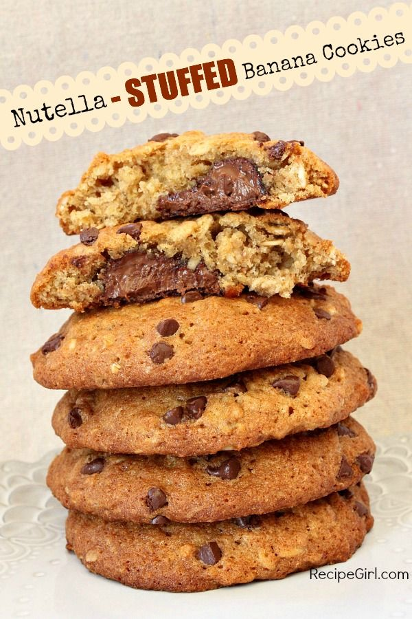 Nutella- Stuffed Banana Cookies #recipe