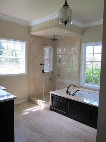 love this idea of tub surround vs/ traditional wainscotting