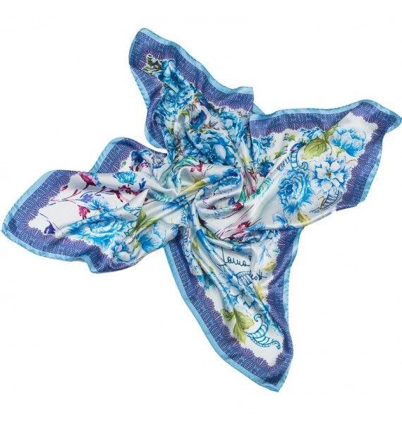 Esarfa eleganta, imprimeu delicat cu flori albastre-Tie-Me-Up