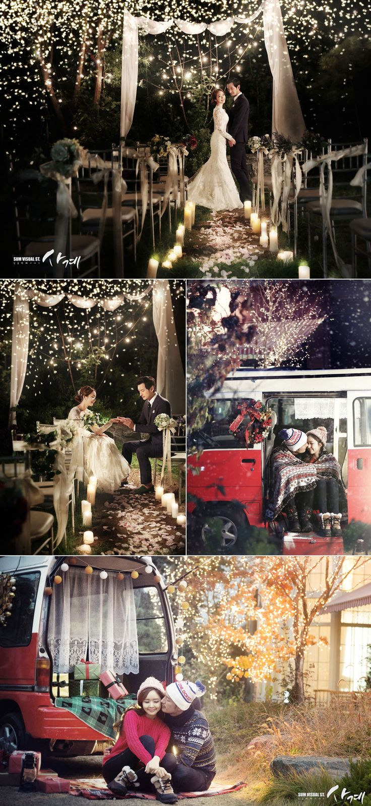 Fairy lights! Korean wedding photography concepts