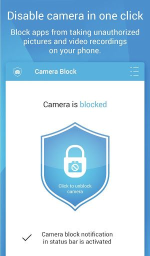 Camera Block - Spyware protect Pro v1.41 build 1441(unlocked)   Camera Block - Spyware protect Pro v1.41 build 1441(unlocked)Requirements:Varies with deviceOverview:Block disable and secure phone camera and protect your privacy from spyware.  App block all camera resources and disable access to camera to other apps and whole android system [No root needed].  App will protect your phone camera from watching and spying you by privacy threats as: Viruses surveillance spyware and malware…