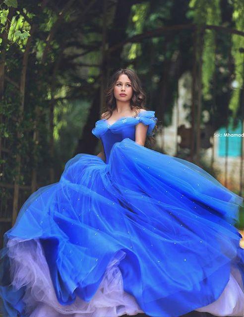 Incrível Azul Royal Organza Ball Vestido Vestidos Quinceanera 2016 Clássico Cinderela Prom Party Vestidos Custom Made Vestido Para 15 Anos