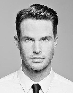 Mens Hair - classic grooming with high shine and a side part will give the Mad Men edge to your work day hair.