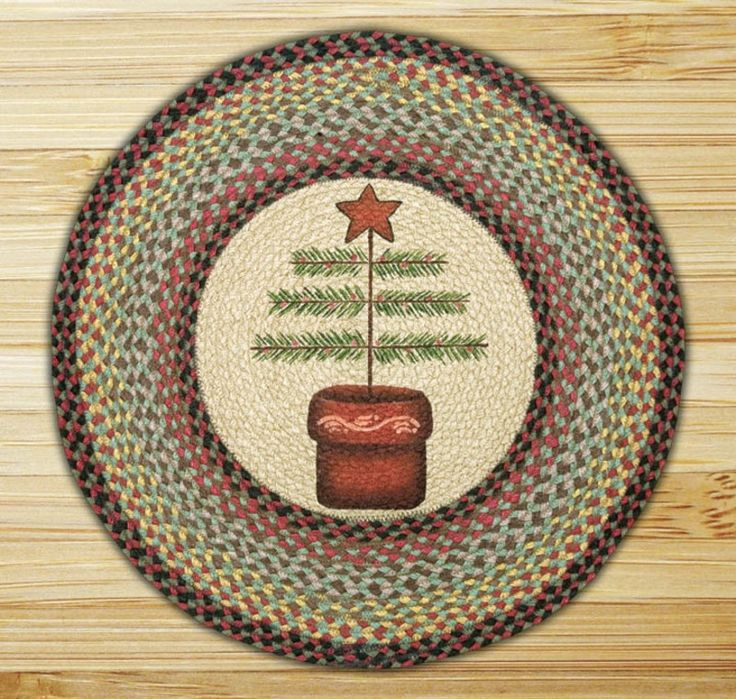 Folk Art Christmas Tree 27 Quot Round Braided Jute Rug 66