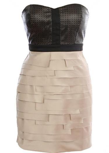 Leatherette Bodice Dress