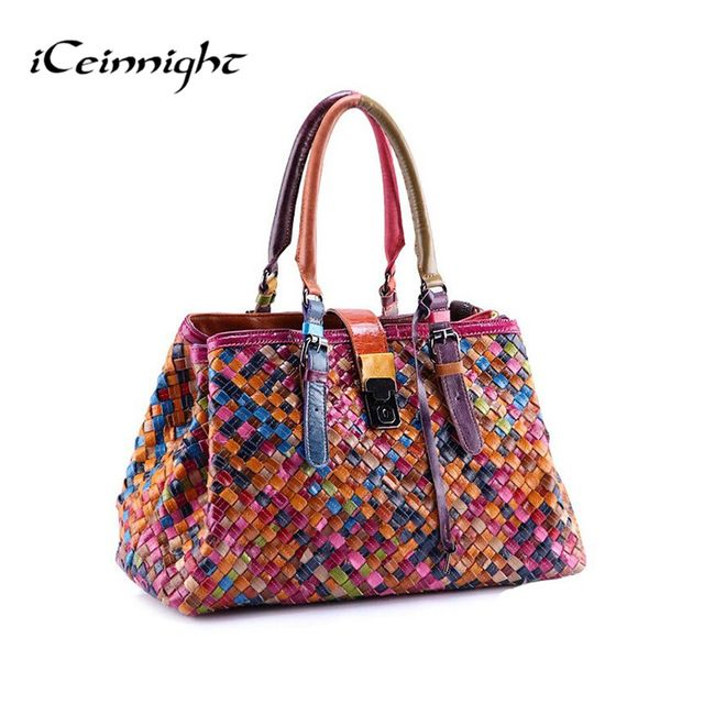 Hot Item $42.21, Buy 2017 New Fashion Multicolour Genuine Leather Bags Weave Handbags Women's Shoulder Bag Messenger Bag colorful handbag female