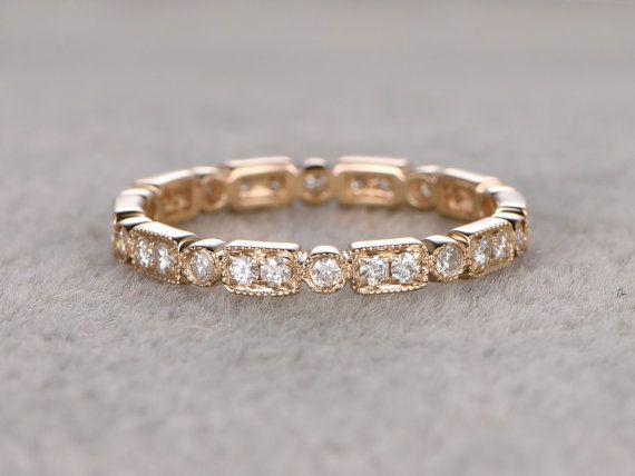 Natürlicher Diamant volle Ewigkeit Ehering solide 14K von popRing