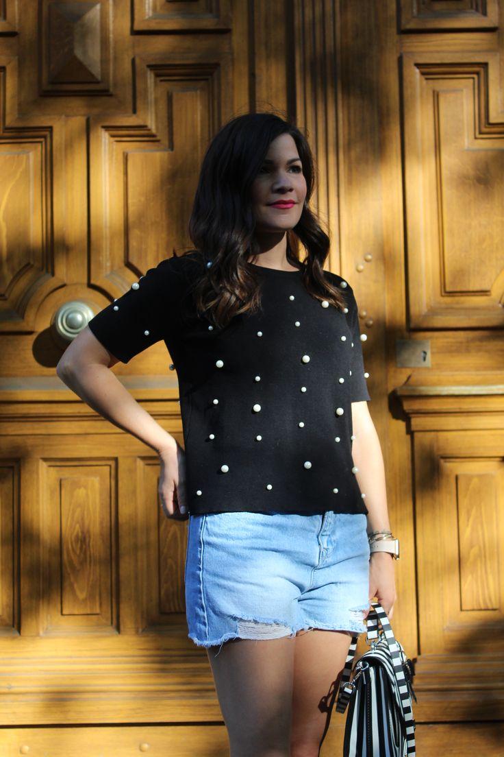 ZARA pearl beads top Black leather espadrilles  ZARA striped cross body handbag   Follow on instagram: vicky_tzo