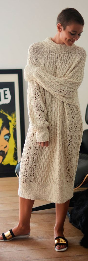 White Oversize Knit Maxi Dress