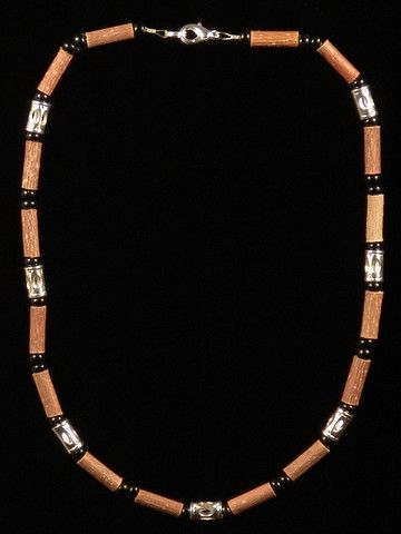 Men Hazelwood Necklace with Stainless Tube beads