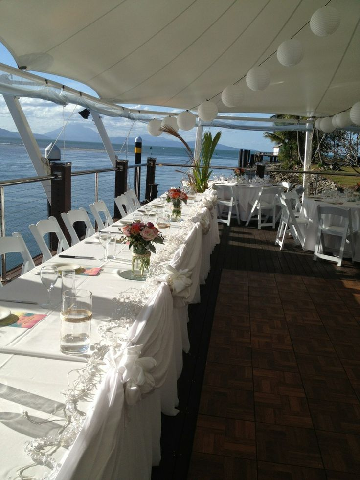 A beautiful wedding at the sea side restaurant - The Tin Shed. Watch the boats rolling in while you celebrate!  For more ideas please visit out website http://www.wardbenedict.com.au/