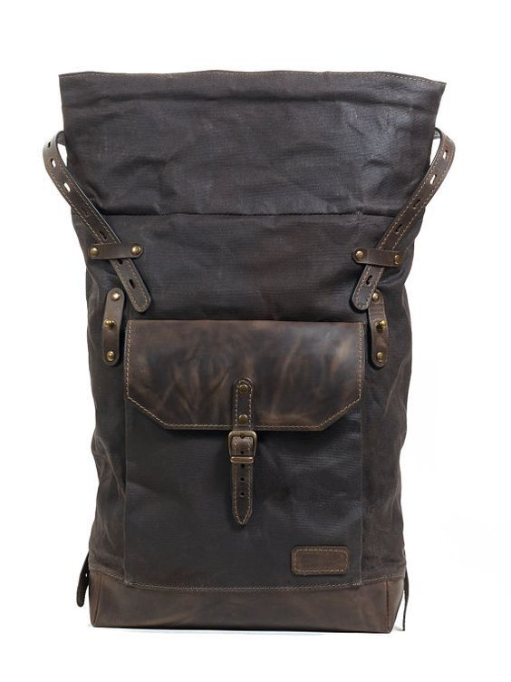Roll top canvas leather backpack for laptop 39a20ed85797b