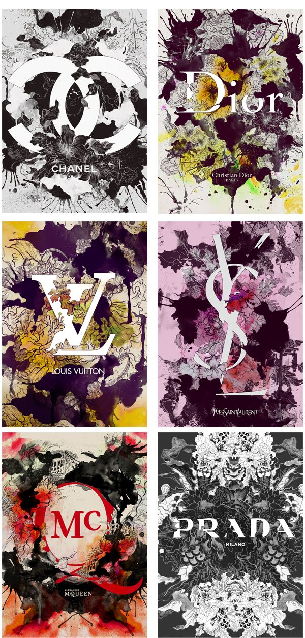 Fashion Logo Typography  by Daryl Feril from Bacolod City on the Philippines. He was then noticed with this self-initiated personal project 'Brands In Full Bloom' that features my new-found personal style of floral and fauna theme, rough hand-drawn sketches with flowing lines & curves and blowing watercolors with the final product composed and polished digitally.