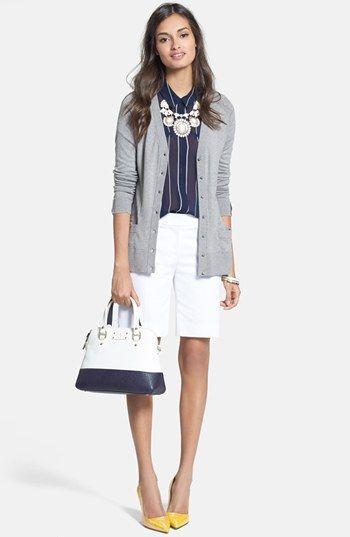 bermuda shorts, cardigan, short sleeve blouse, chunky necklace, & heels---CUTE!