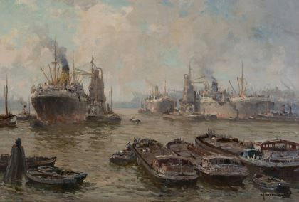 Gerardus Johannes 'Gerard' Delfgaauw (1882-1947) The Waalhaven, Rotterdam, oil on canvas 40,2 x 60,5 cm., signed l.r. Collection Simonis & Buunk, The Netherlands