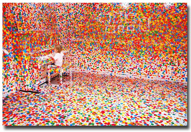 """This is What Happens When You Give Thousands of Stickers to Thousands of Kids"" ----- Yayoi Kusama's 'The obliteration room'"