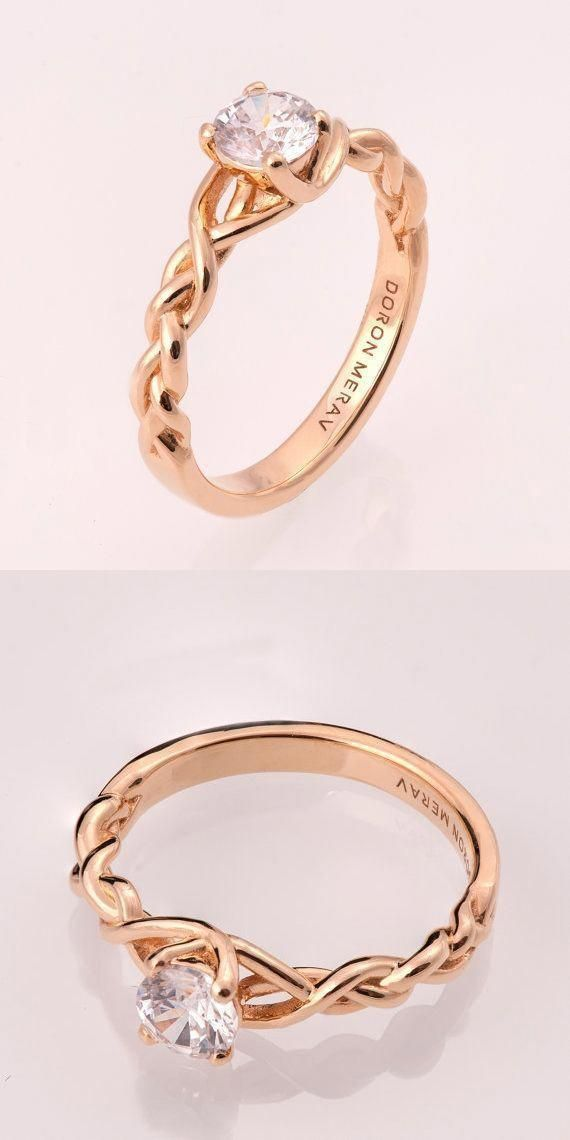 Braided Engagement Ring No 2 14k Rose Gold And Diamond Engagement Ring 0 5ct Diamond Braided Engagement Rings Wedding Rings Vintage Vintage Engagement Rings