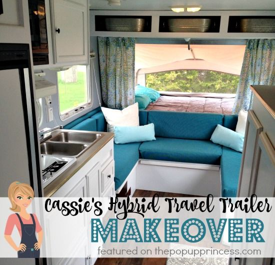 What an awesome travel trailer remodel!  All the renovations were done on a $300 budget, too!  Gorgeous!