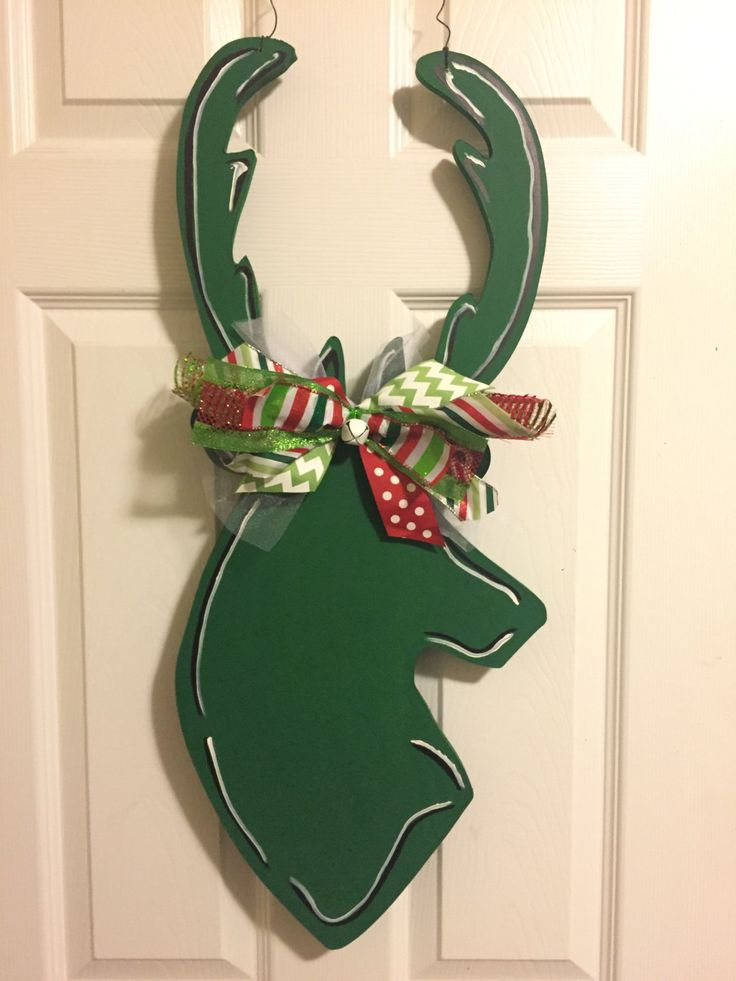 Deer Door Hanger, Antler Door Hanger,  Deer Wreath, Antler Wreath, Rustic Door Hanger, Fall Door Hanger, Winter Door Hanger, Deer Decor by CrazyArtTeacherLady on Etsy