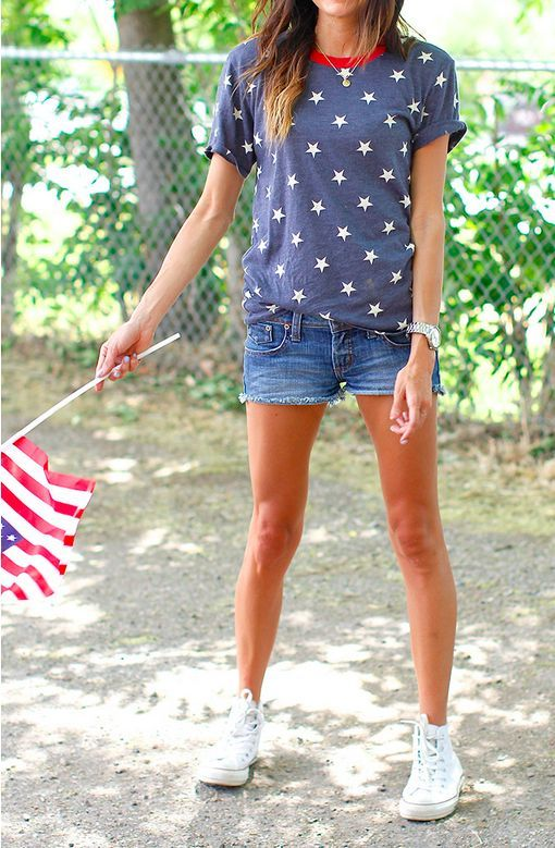 @roressclothes closet ideas #women fashion Casual Outfit Idea with Shorts and Star Shirt