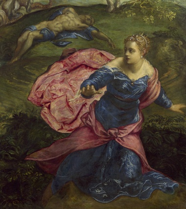 Detail from 'Saint George and the Dragon'. The fleeing princess from Saint George and the Dragon reveals how Tintoretto explores a reoccurring motif in Renaissance painting: flowing drapery. Flying, flowing drapery allowed Renaissance artists to fill dull passages, unite different groups, and frame elements. In comparison to other Renaissance artists, Tintoretto subordinates drapery to the design as a whole, not allowing it to become the centrepiece.