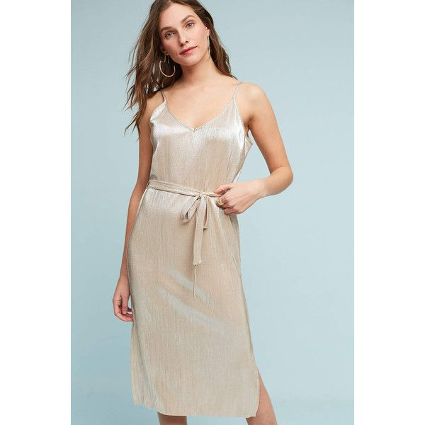 Storm & Marie Metallic Slip Dress ($108) ❤ liked on Polyvore featuring dresses, gold, gold dress, rock and roll dresses, metallic print dress, metallic gold dress and gold slip dress